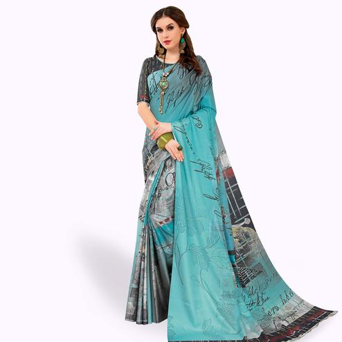Ethnic Light Blue Colored Casual Wear Printed Art Silk Saree