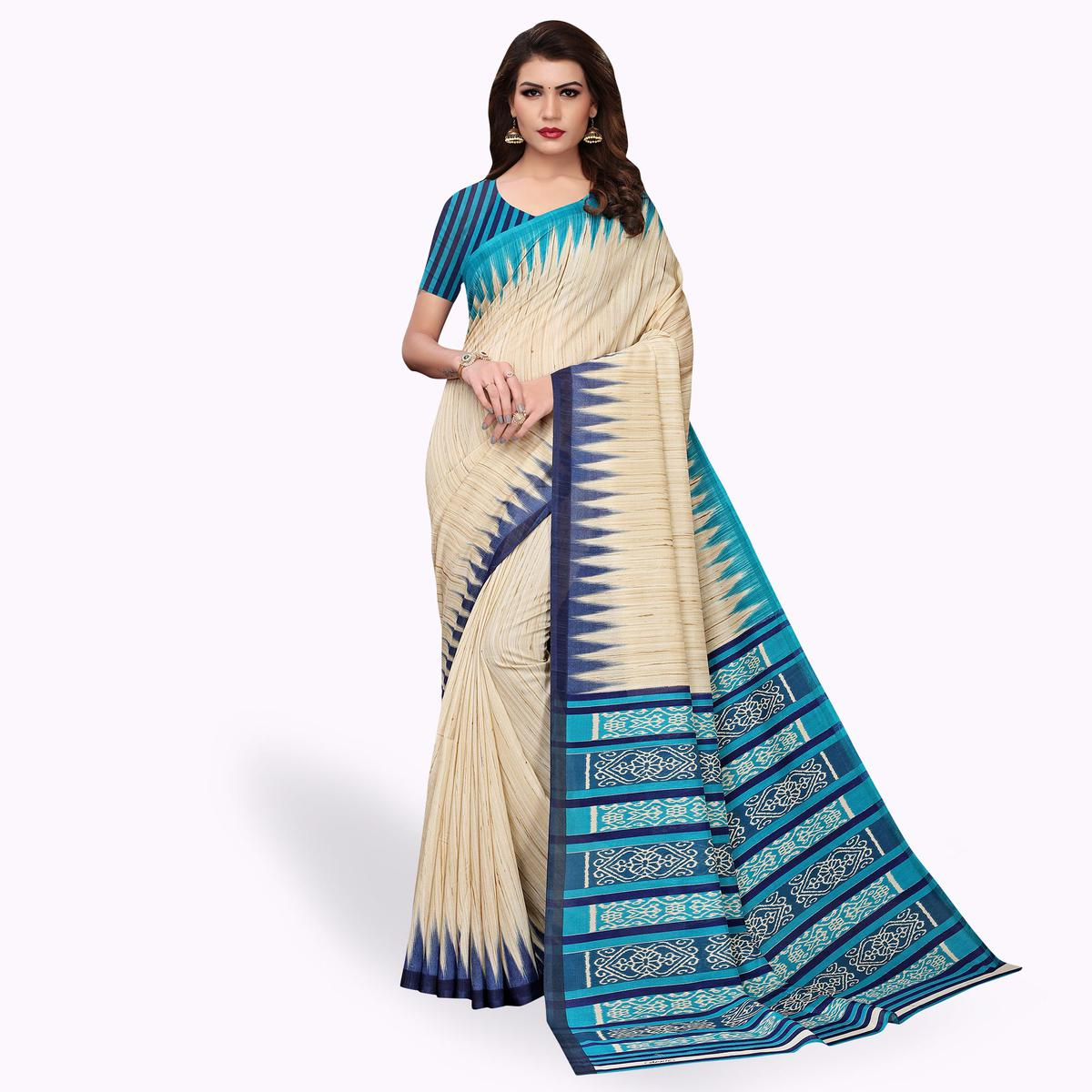 Ravishing Beige - Sky Blue Colored Casual Wear Printed Art Silk Saree