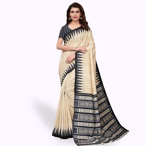 Staring Beige - Black Colored Casual Wear Printed Art Silk Saree