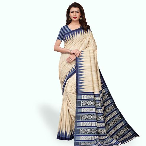 Dazzling Beige - Blue Colored Casual Wear Printed Art Silk Saree