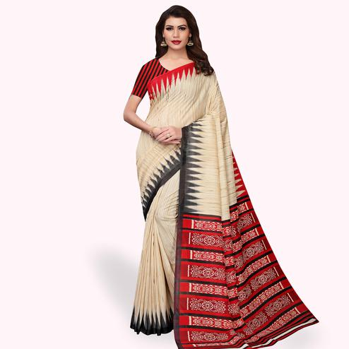 Surpassing Beige - Red Colored Casual Wear Printed Art Silk Saree
