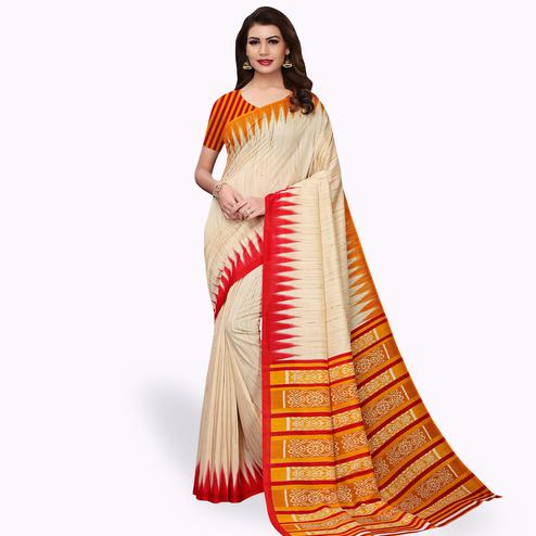 Intricate Beige - Yellow Colored Casual Wear Printed Art Silk Saree