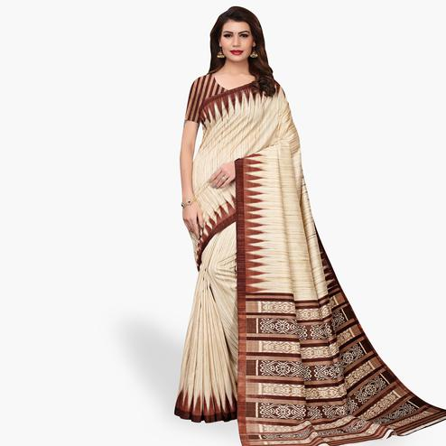 Arresting Beige - Brown Colored Casual Wear Printed Art Silk Saree