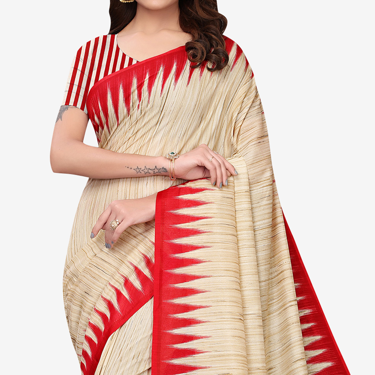 Desirable Beige - Red Colored Casual Wear Printed Art Silk Saree