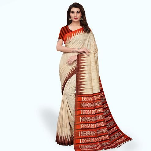 Exotic Beige - Orange Colored Casual Wear Printed Art Silk Saree