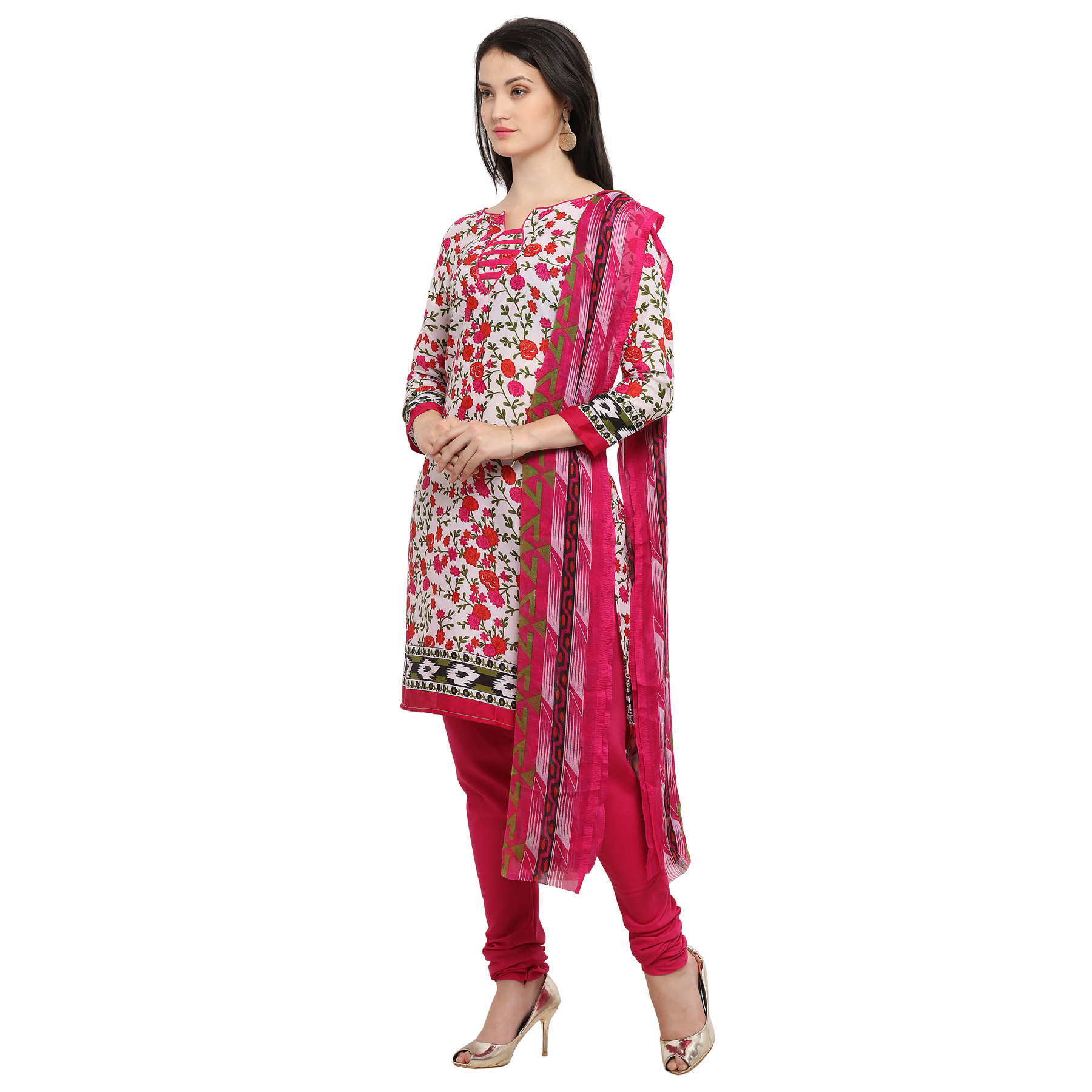 Attractive White-Rani Pink Printed Cotton Dress Material