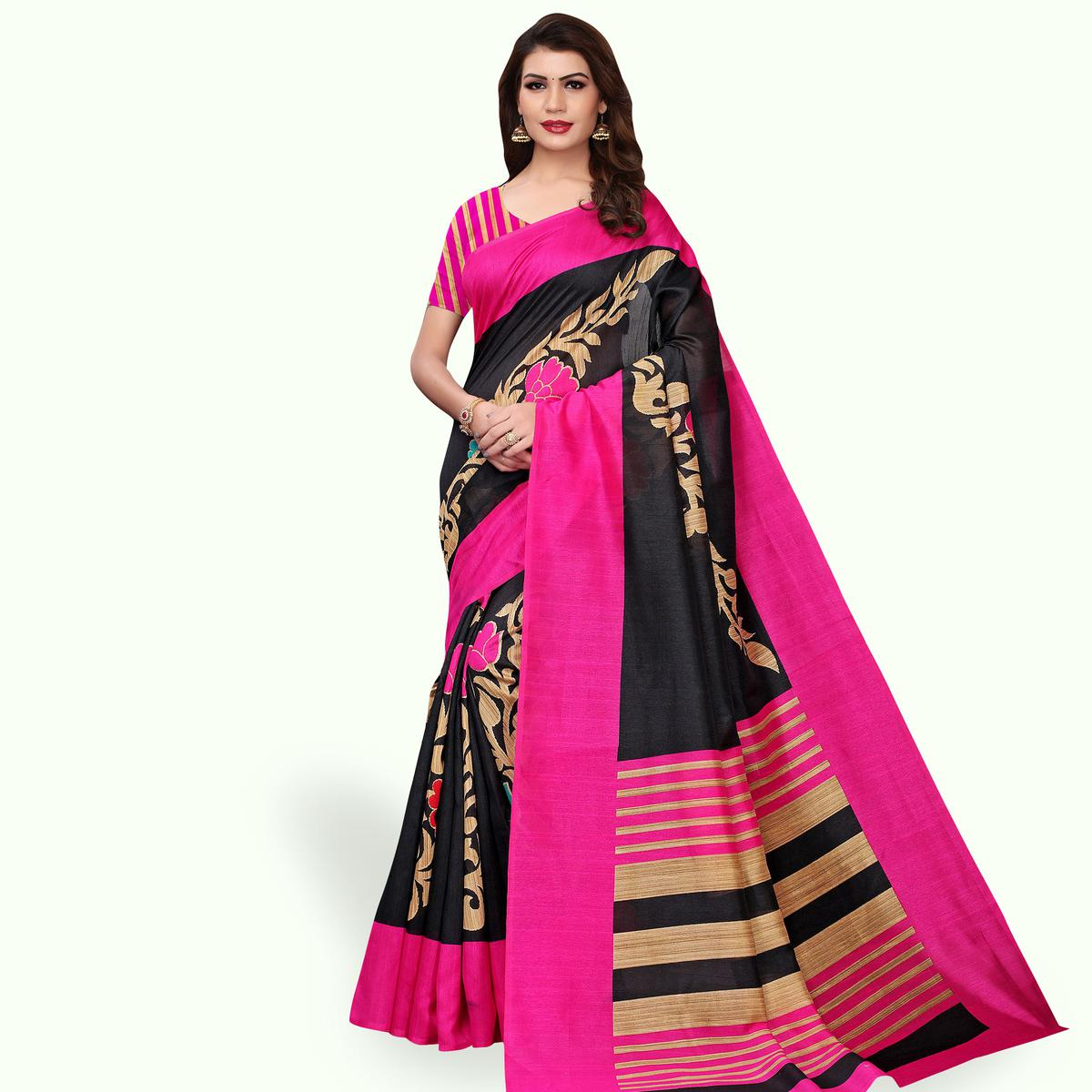 Trendy Black Colored Casual Wear Printed Bhagalpuri Silk Saree