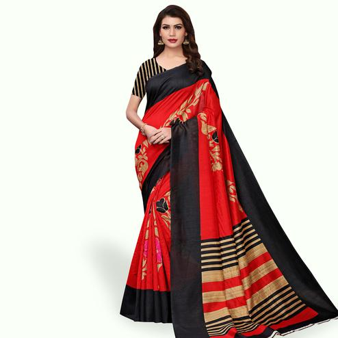 Elegant Red Colored Casual Wear Printed Bhagalpuri Silk Saree