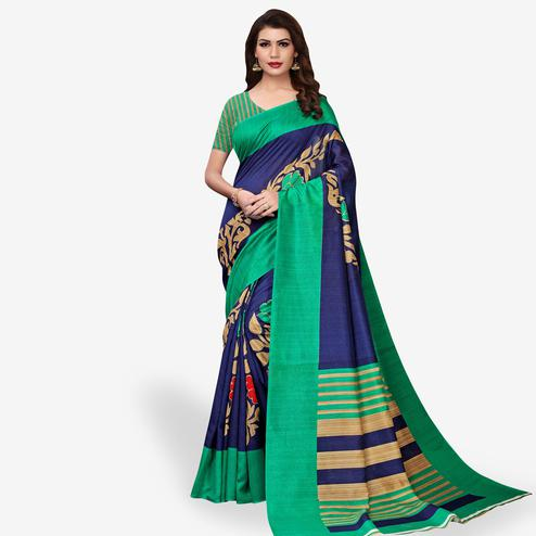 Radiant Navy Blue Colored Casual Wear Printed Bhagalpuri Silk Saree