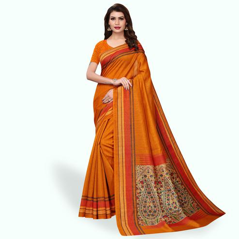 Opulent Orange Colored Casual Wear Printed Bhagalpuri Silk Saree