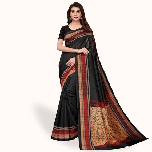 Energetic Black Colored Casual Wear Printed Bhagalpuri Silk Saree