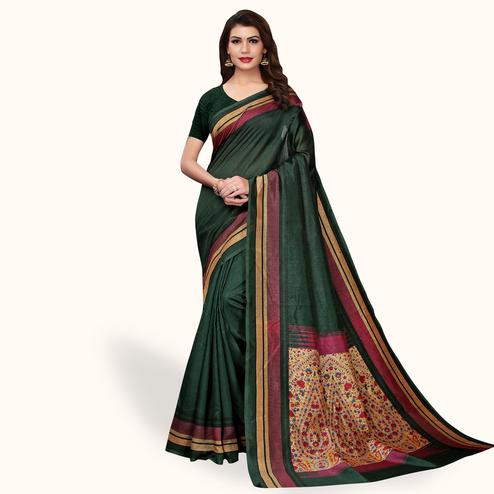 Glowing Dark Green Colored Casual Wear Printed Bhagalpuri Silk Saree