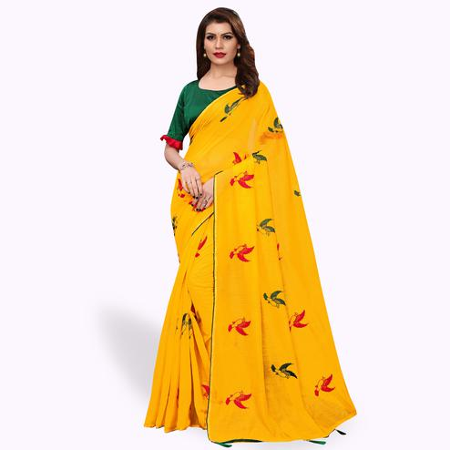 Exceptional Yellow Colored Party Wear Embroidered Cotton Silk Saree