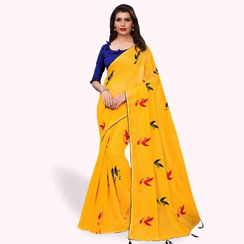 Gleaming Yellow Colored Party Wear Embroidered Cotton Silk Saree