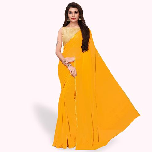 Mesmeric Yellow Colored Party Wear Georgette Saree