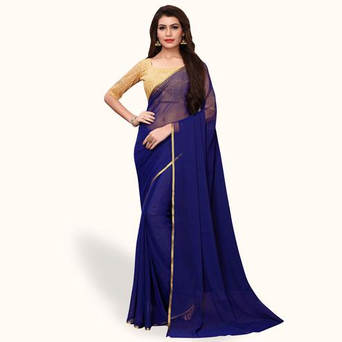 Demanding Navy Blue Colored Party Wear Georgette Saree