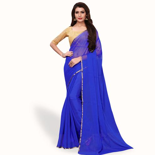 Refreshing Royal Blue Colored Party Wear Georgette Saree