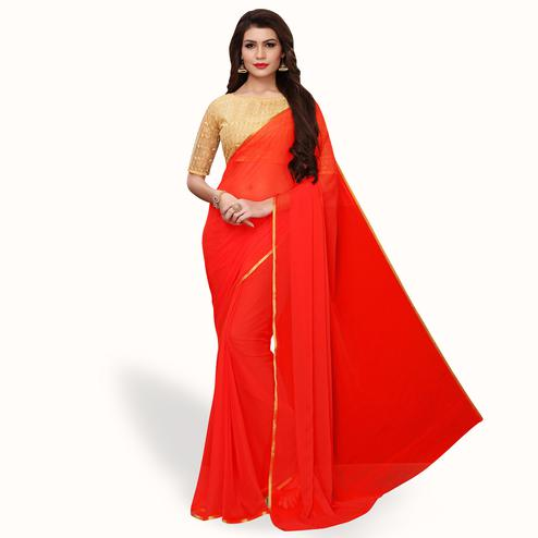 Magnetic Red Colored Party Wear Georgette Saree