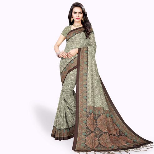 Hypnotic Gray Colored Casual Wear Printed Pashmina Silk Saree
