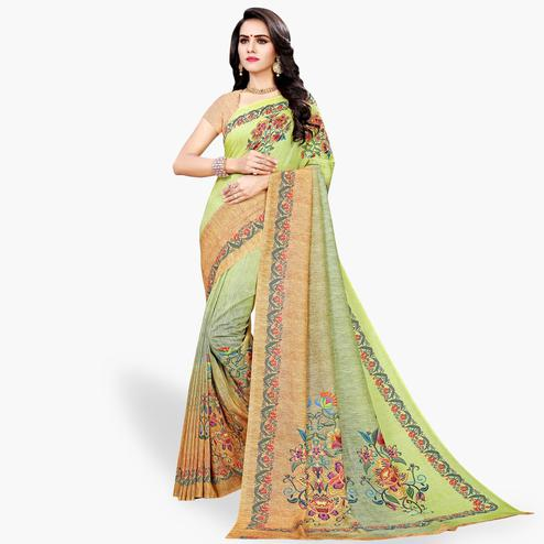 Flattering Green Colored Casual Wear Cotton Silk Saree