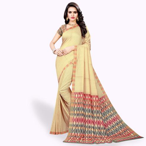 Excellent Beige Colored Casual Wear Cotton Silk Saree