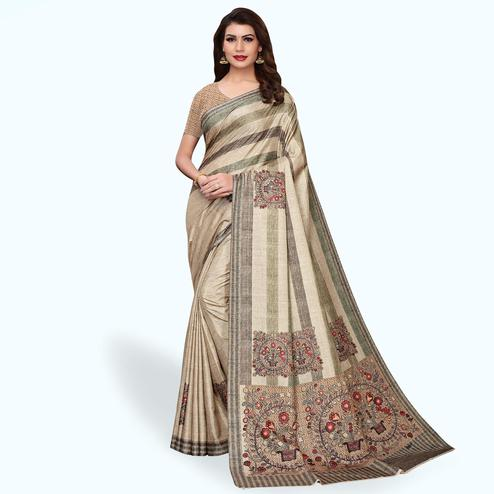 Preferable Pastel Brown Colored Casual Wear Art Silk Saree