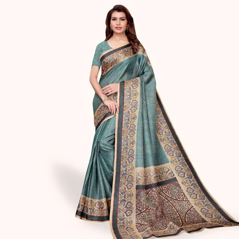 Marvellous Slate Blue Colored Casual Wear Khadi Silk Saree