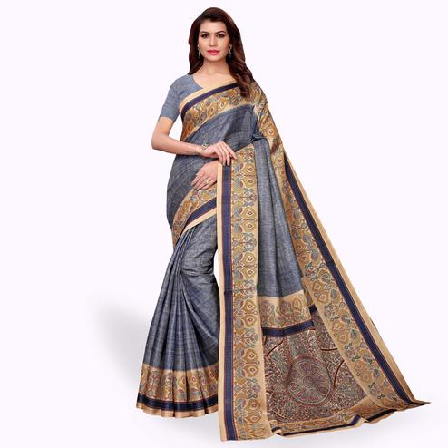 Flamboyant Blue Colored Casual Wear Khadi Silk Saree