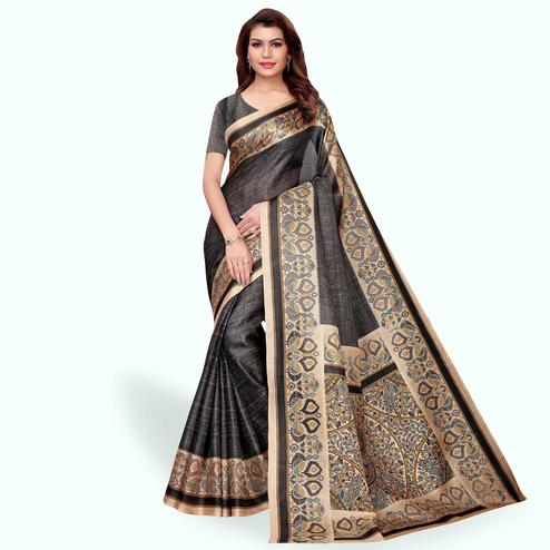 Pretty Black Colored Casual Wear Khadi Silk Saree
