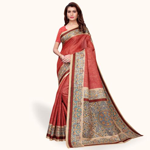 Alluring Red Colored Casual Wear Khadi Silk Saree