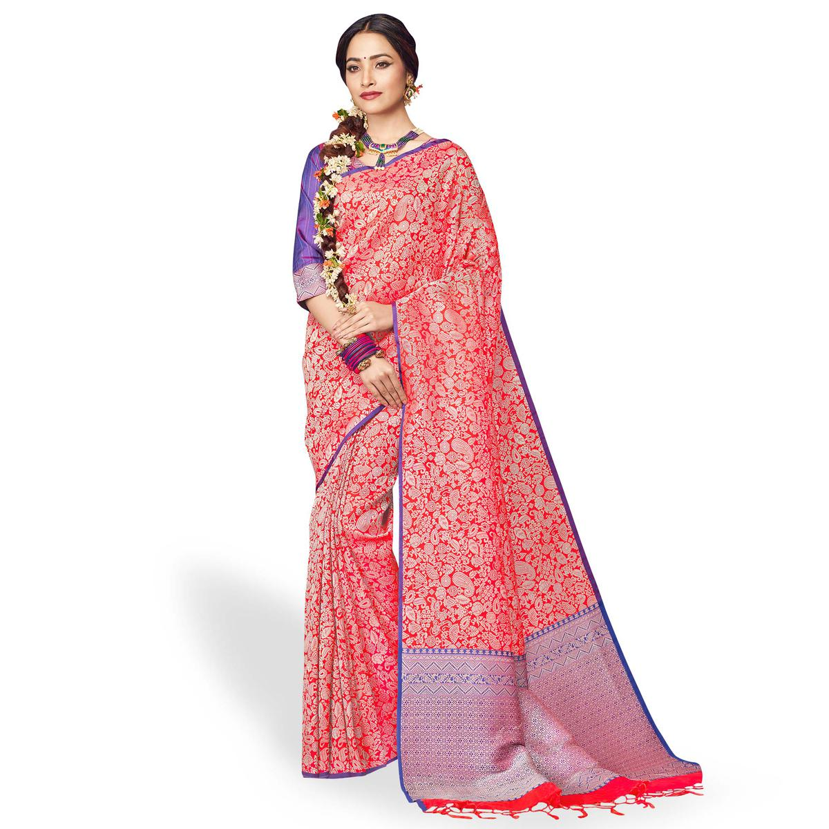 Flaunt Red Colored Festive Wear Silk Saree