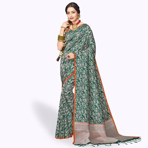 Flirty Green Colored Festive Wear Silk Saree