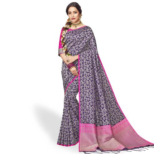 Classy Purple Colored Festive Wear Silk Saree