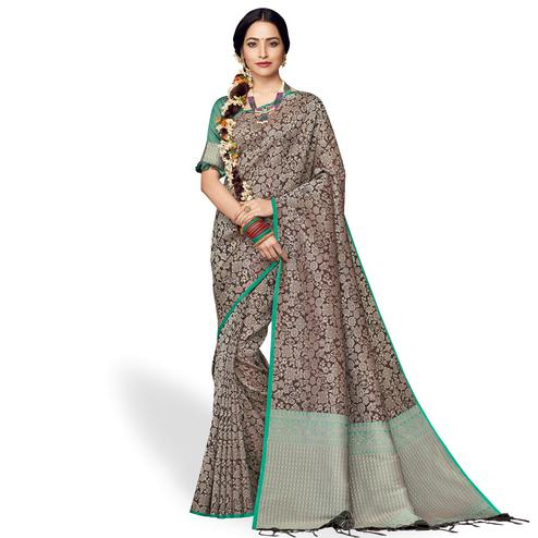Adorning Brown Colored Festive Wear Silk Saree