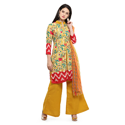 Adorable Yellow Printed Cotton Dress Material