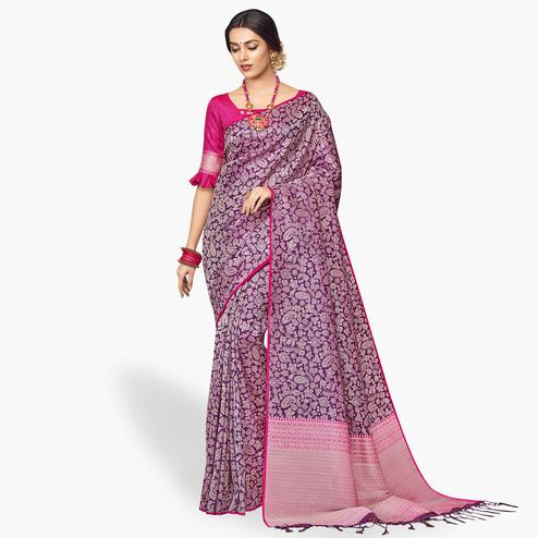 Appealing Violet Colored Festive Wear Silk Saree