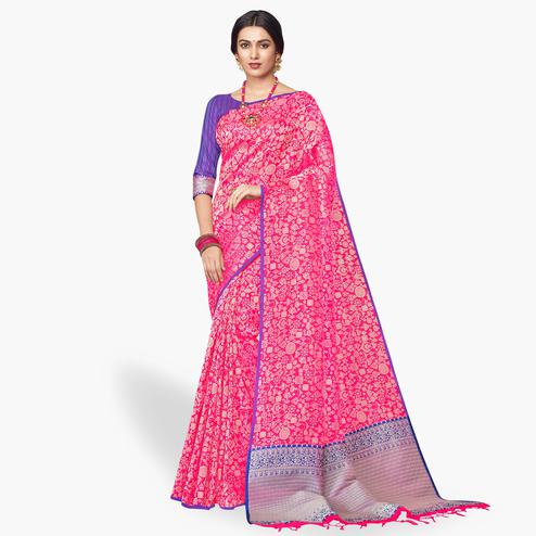 Capricious Pink Colored Festive Wear Silk Saree