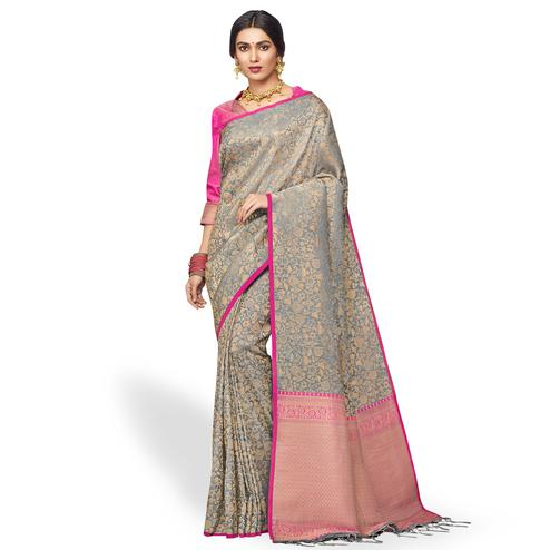 Entrancing Gray Colored Festive Wear Silk Saree