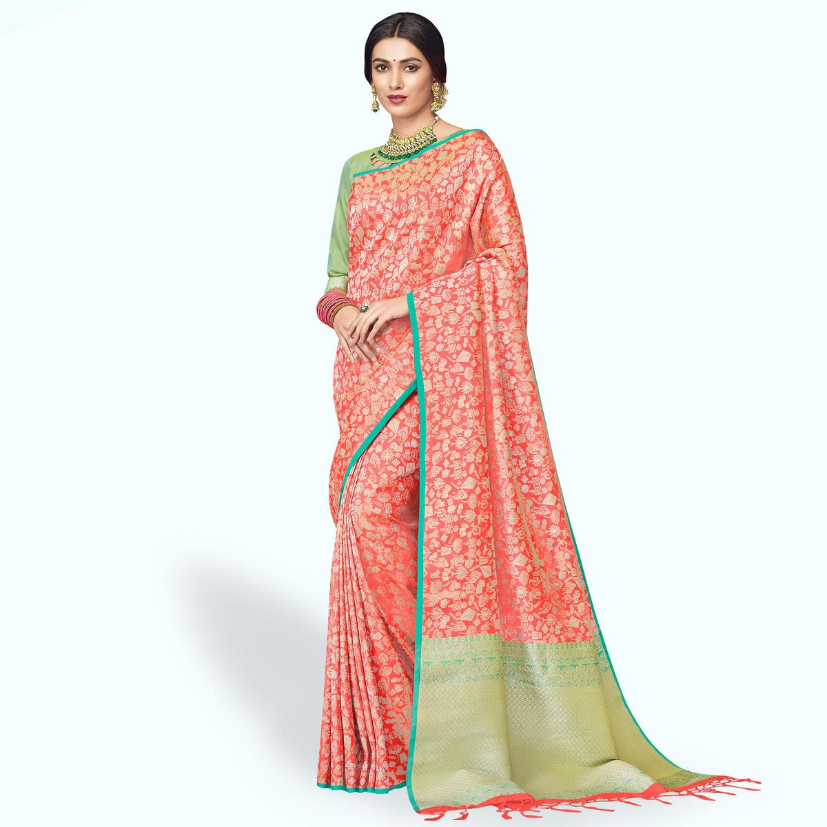 Groovy Coral Red Colored Festive Wear Silk Saree