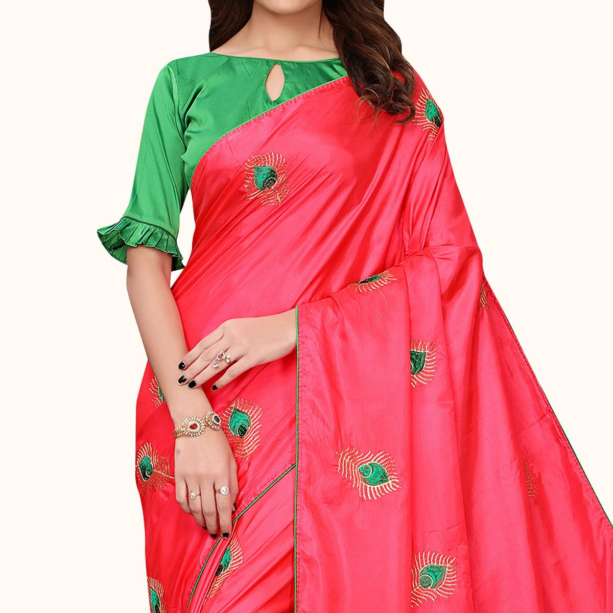 Prominent Hot Pink Colored Party Wear Embroidered Silk Saree