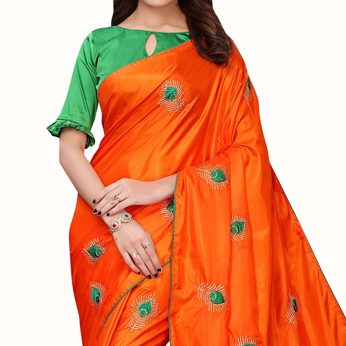 Delightful Orange Colored Party Wear Embroidered Silk Saree