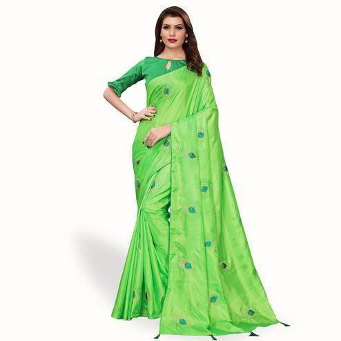 Engrossing Green Colored Party Wear Embroidered Silk Saree