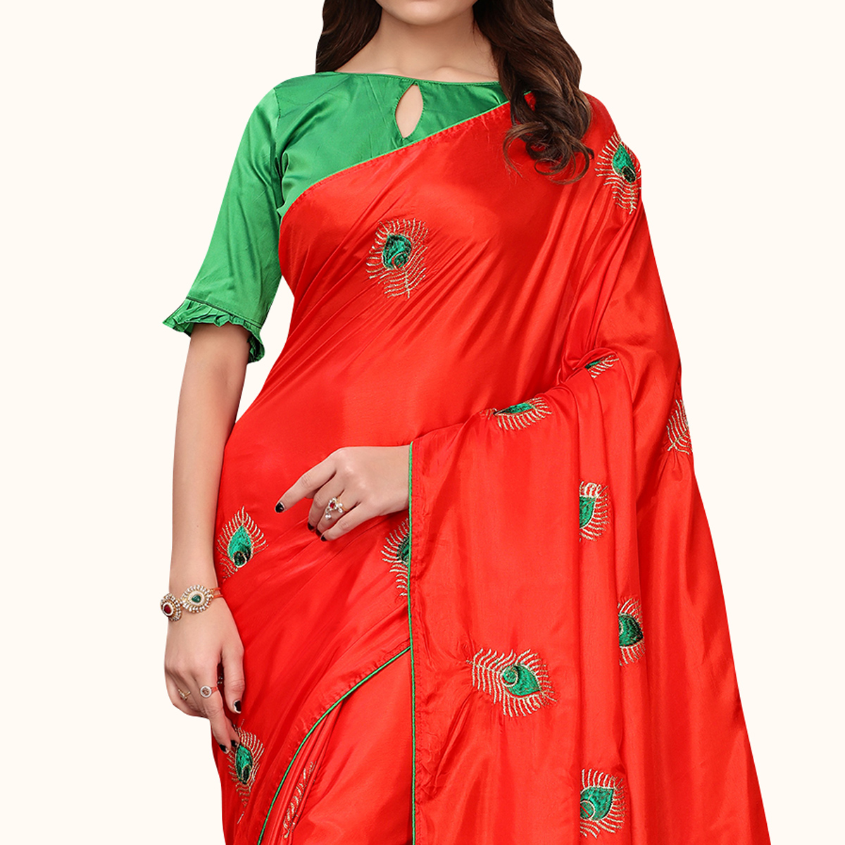 Captivating Red Colored Party Wear Embroidered Silk Saree
