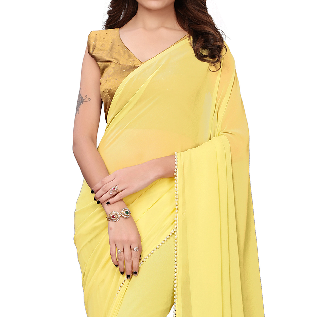 Innovative Yellow Colored Party Wear Georgette Saree