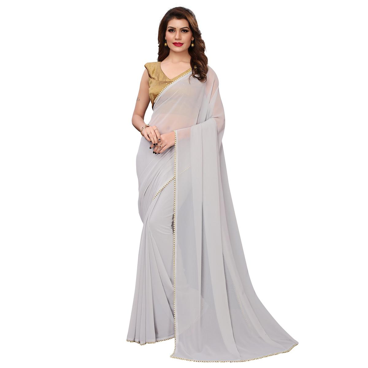 Eye-catching Gray Colored Party Wear Georgette Saree