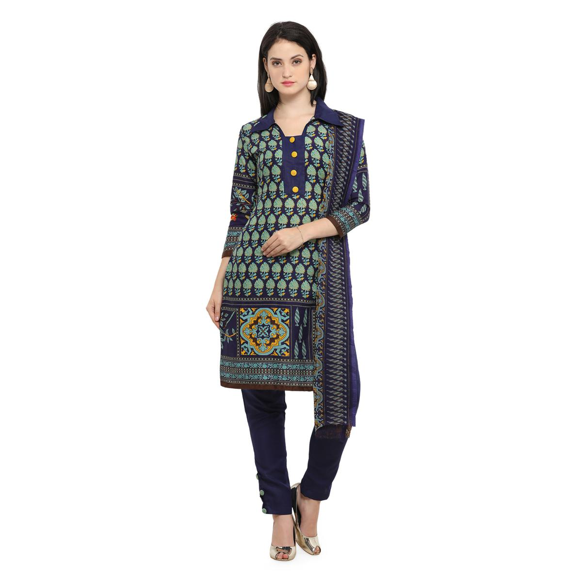 Stunning Navy-Green Printed Cotton Dress Material
