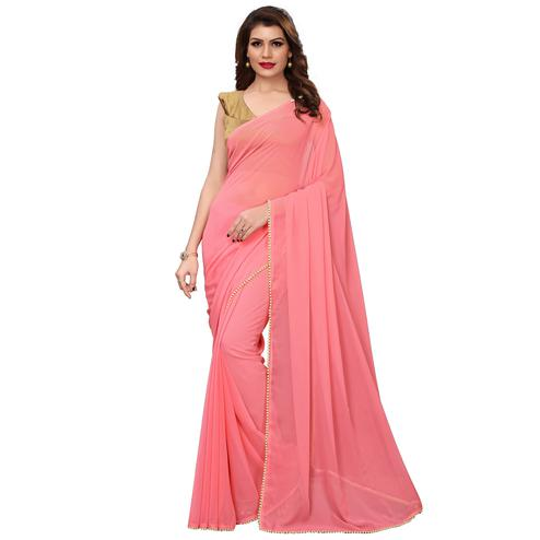 Fantastic Pink Colored Party Wear Georgette Saree