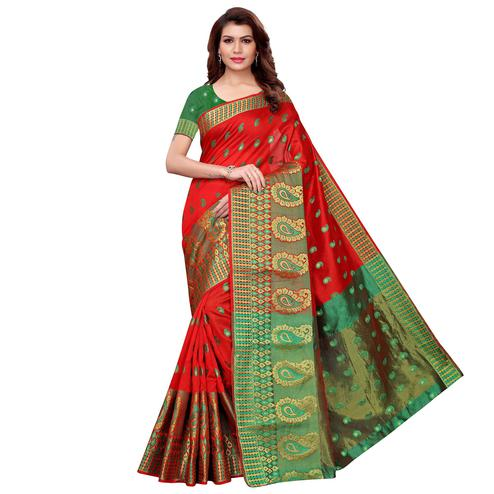 Gorgeous Red Colored Festive Wear Cotton Silk Saree