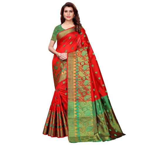 Imposing Red Colored Festive Wear Cotton Silk Saree