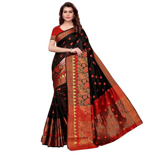 Lovely Black Colored Festive Wear Cotton Silk Saree